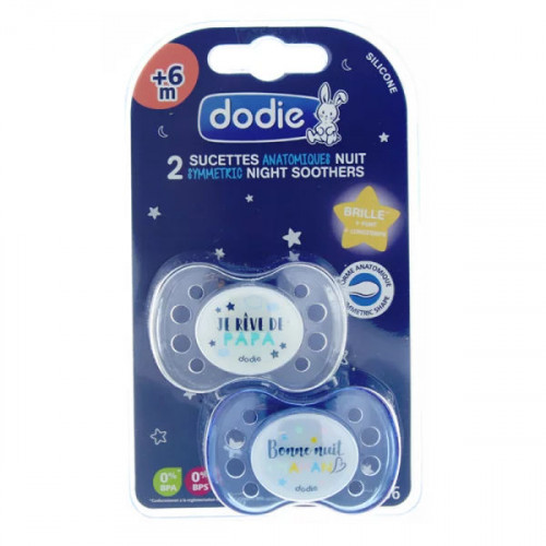 Dodie Duo sucette anatomique silicone +6 mois Nuit