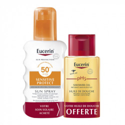 EUCERIN SUN PROTECTION SENSITIVE PROTECT SUN SPRAY SPF50+ 200 ML + PH5 HUILE DE DOUCHE 100 ML OFFERTE